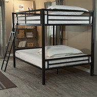 Modern Full over Full Bunk Bed with Ladder in Black Metal Finish DHFB651847