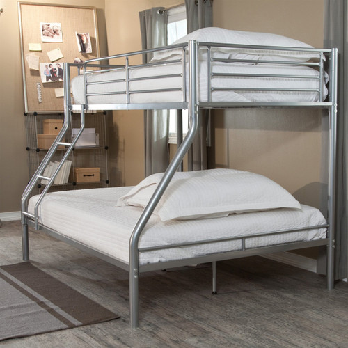 Modern twin over full size bunk bed in silver metal finish for Kitchen set bekas