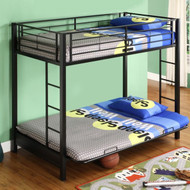 Black Metal Twin over Full-size Futon Bunk Bed Frame SBTFBF2971