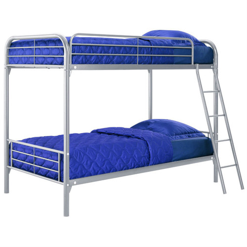 Twin over Twin size Silver Metal Bunk Bed DTOTBS14301