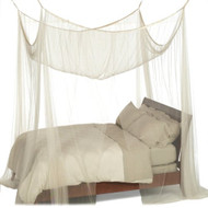 4-Post Bed Canopy in Ecru Color Mesh Fabric - Fits all Bed Sizes H4PC36