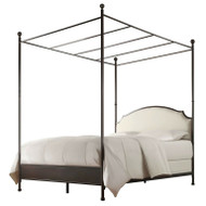 Full size Metal Canopy Bed with Cream White Linen Upholstered Headboard FMCB6518153