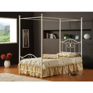 Full size Traditional Metal Canopy Bed in Off White Finish FMCBO310
