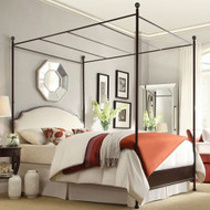 King size Metal Canopy Bed with White Cream Linen Upholstered Headboard KCBAH936121