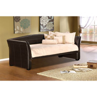 Twin size Brown Faux Leather Upholstered Daybeds with Wood Slats TDBE651814