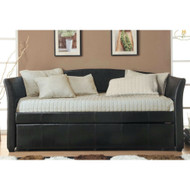 Twin size Dark Brown Faux Leather Daybed with Trundle Bed MFLD469