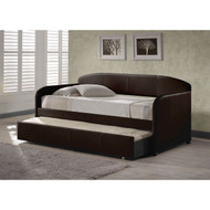 Twin size Brown Faux Leather Daybed with Roll-out Trundle BHSD432