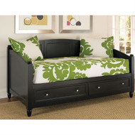 Twin size Black Wood Contemporary Daybed with Storage Drawers HSBD72628