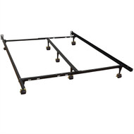 CA King size Metal Bed Frame with 7-Legs and Locking Rug Rollers Wheels CAK159581814