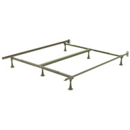 Twin Full Size Sturdy 6 Leg Metal Bed Frame With Glide Legs