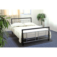 Full size Black Metal Platform Bed w/Headboard/Footboard, Silver Accents FMPBBS519815