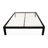 Twin Modern Black Metal Platform Bed Frame with Wood Slats TMSBF51981