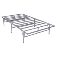 Twin Steel Platform Bed Frame in Silver Grey Metal Finish TMP6499163