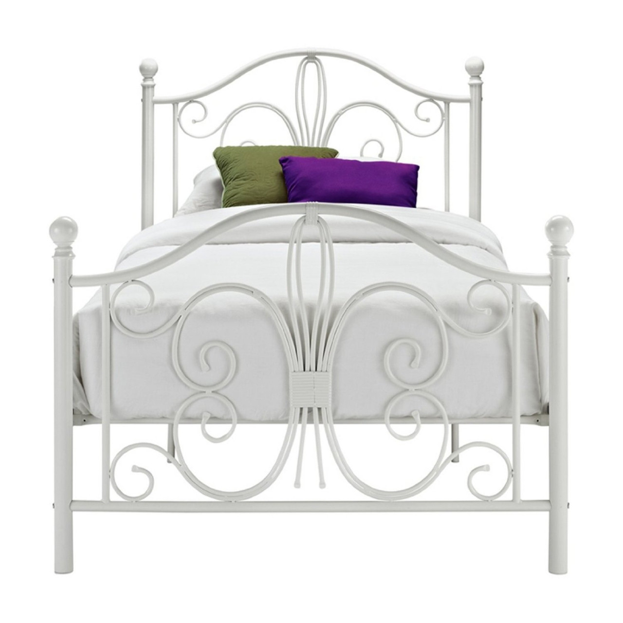 Twin white metal platform bed frame with headboard and for White metal twin bed frame