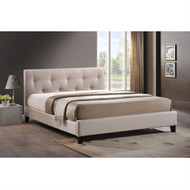 Queen size Beige Fabric Upholstered Platform Bed with Headboard BSALB336541