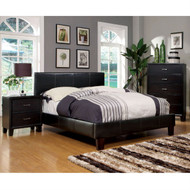 Queen size Upholstered Platform Bed with Headboard in Dark Espresso Faux Leather F56DEQB2779