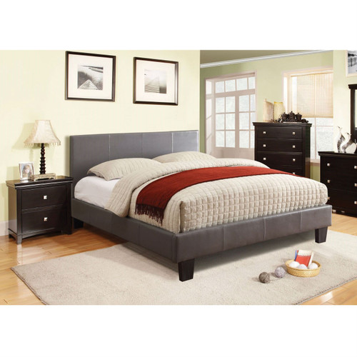 full size platform bed with headboard upholstered in gray faux leather. Black Bedroom Furniture Sets. Home Design Ideas