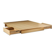 Full/Queen size Maple Platform Bed Frame with Storage Drawers SSFQPB5460