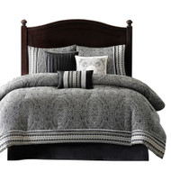 CA King size 7-Piece Comforter Set in Black White Luxury Damask CAKPB51684