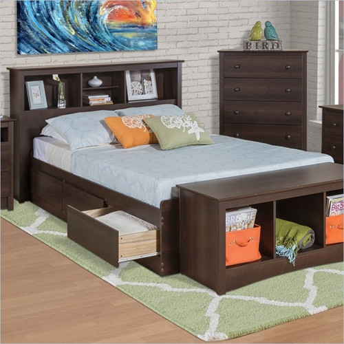 Twin xl espresso brown platform bed w headboard and for Big w bedroom storage