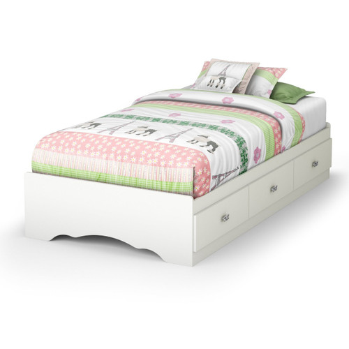 Twin White Platform Bed Frame With 3 Storage Drawers