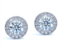 1.07 cttw Round Diamond Earrings In 18k White Gold