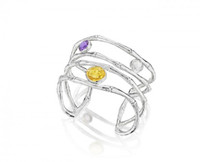 Thistle & Bee Silver Bamboo Swirl Cuff with Gemstones