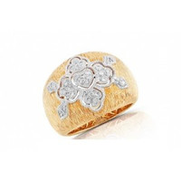 Italian Brushed 18k Yellow Gold & Diamond Ring