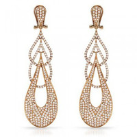 6.74 Ct Diamond Drop Earrings in Rose Gold