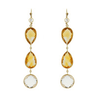 Herco Earrings 14KTY Earring Citrine/Crystal Quar 14VAEA100Y