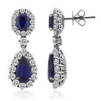 18k WG Sapphire & Diamond Dangling Earrings (rd 3.17cttw, Sp 2.51cttw, Sp 5.16cttw)