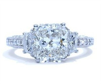 3.30 Cttw Cushion Cut Diamond Ring