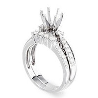 Pave Two Piece Diamond Engagement Ring Setting P16-1