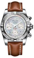 Breitling Chronomat 41 Steel Dia Bezel LeatherTang AB0140AA/G712