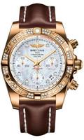 Breitling Chronomat 41 RG Dia Bezel LeatherTang HB0140AA/A723