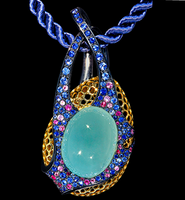 "Mousson Atelier New Age ""Bush"" Gold Aquamarine Pendant P0051-0/1"