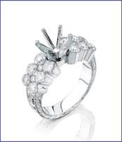 Gregorio 18K White Diamond Engagement Ring R-0051