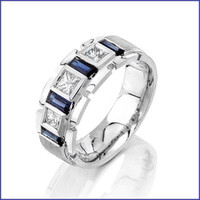 Gregorio 18K Men's WG Diamond & Sapphire Ring R-131
