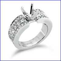 Gregorio 18K White Diamond Engagement Ring R-183