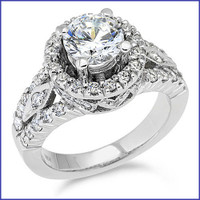 Gregorio 18K White Diamond Engagement Ring R-185