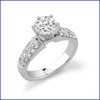 Gregorio 18K White Engagement Diamond Ring R-189E