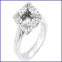 Gregorio 18K White Diamond Engagement Ring R-198