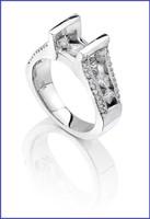 Gregorio 18K White Diamond Engagement Ring R-209-1