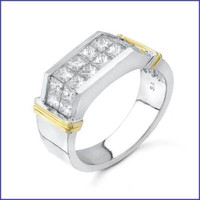 Gregorio 18K Two Tone Mens Diamond Ring R-2542