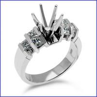 Gregorio 18K White Engagement Diamond Ring R-263