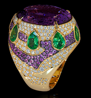 Mousson Atelier Ladya Collection Gold Amethyst Ring R0045-0/2