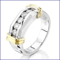 Gregorio 14K 2 Tone Men's Diamond Ring SA-3900