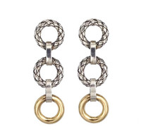 18Kt/Sterling Silver Traversa Drop Earring