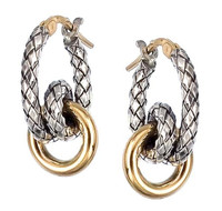 18Kt/Sterling Silver Traversa Small Hoop Earring