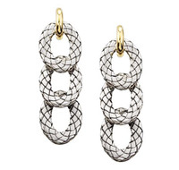 18Kt/Sterling Silver Triple Traversa Hanging Oval Earring